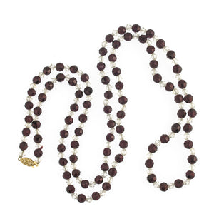 Vintage faceted natural Bohemian garnet bead necklace with cut crystal spacers. 14k gold clasp. nlbd1243(e)