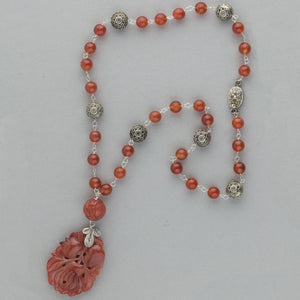 Vintage Chinese carved carnelian gourd necklace with carnelian and sterling silver beads. nlbd1246(e)