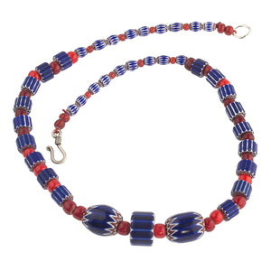 Antique Venetian 6 layer Blue Chevron and red white heart trade bead necklace. nlbd1257