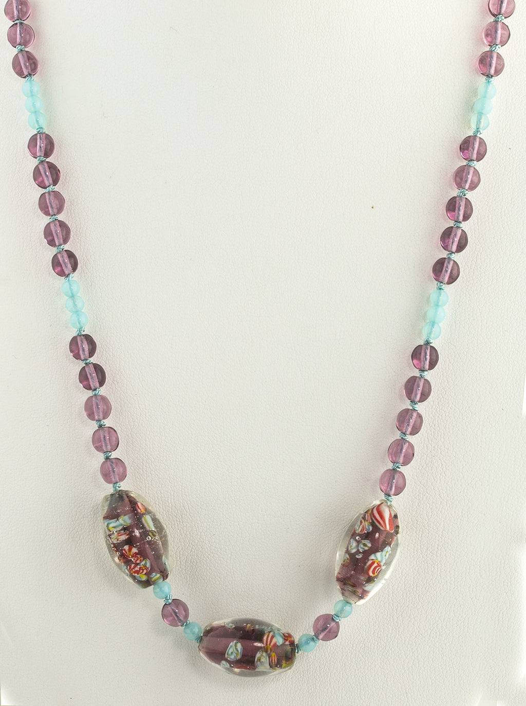 Vintage beaded necklace with Venetian confetti glass focal beads. nlbd1258