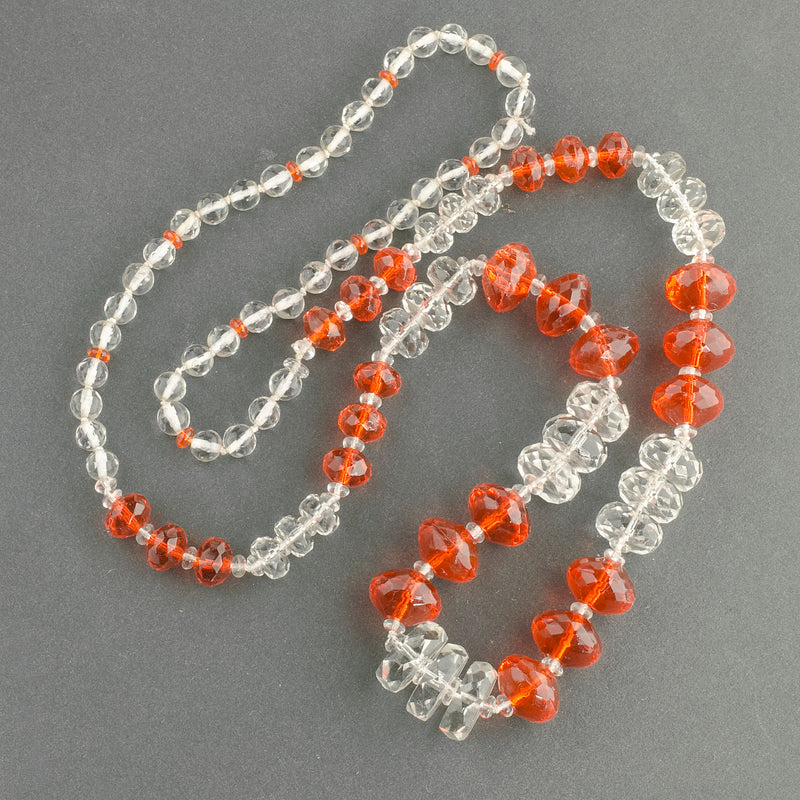 1920s Art Deco faceted crystal glass bead necklace. nlbd1260