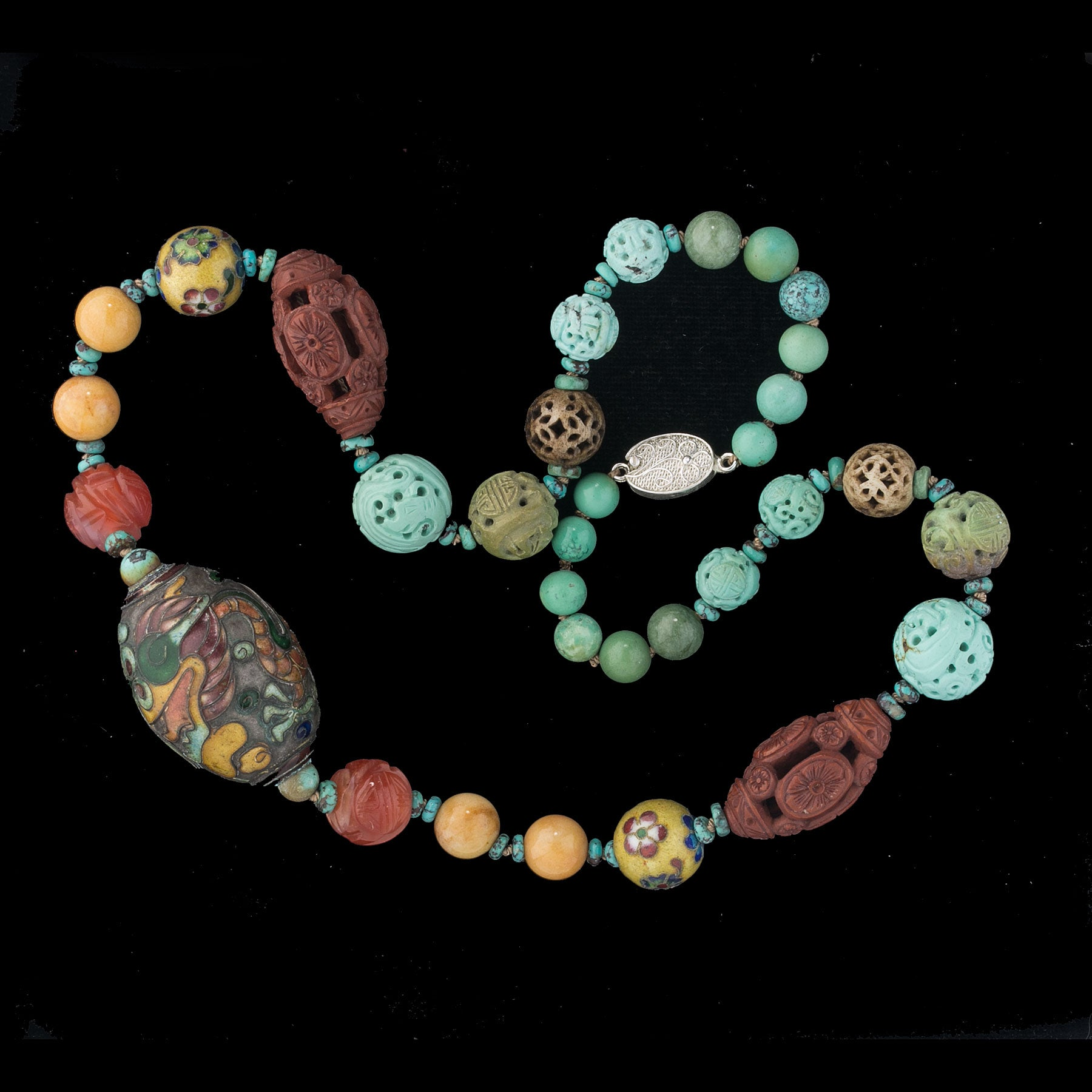Necklace Of Rare Antique And Vintage Chinese Beads Nlbd1264 Earthly Adornments