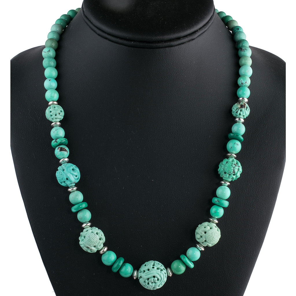 9c61ee69e Necklace of vintage rare carved and smooth natural turquoise beads with  sterling silver spacers and clasp