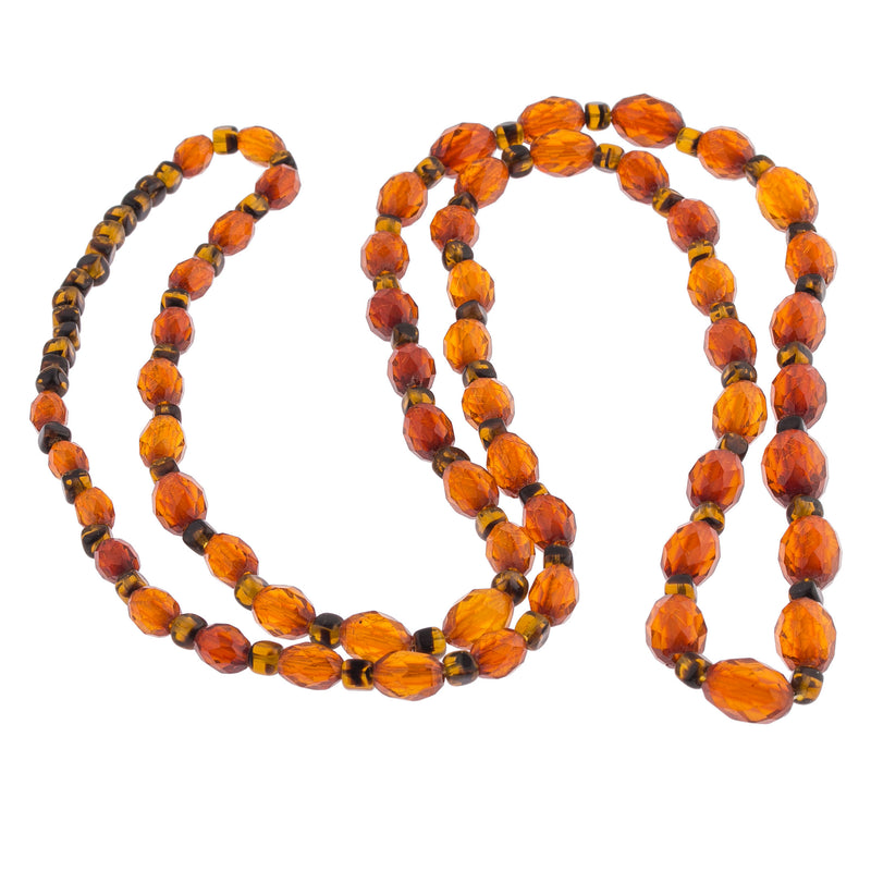 Antique Art Deco faceted Baltic amber bead necklace. Graduated.  35 inches. nlbd1270