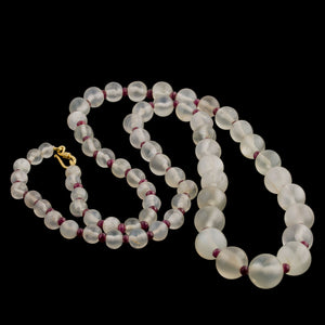 Chatoyant clear quartz crystal bead and Mysore ruby bead necklace.  nlbd1271