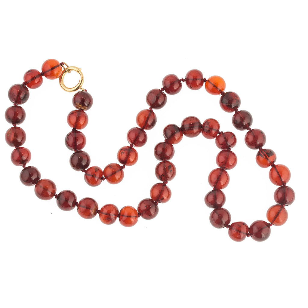 Antique genuine Cherry Amber round beaded necklace.  13mm beads.  25.5 inches.  Gold filled clasp. nlbd1276