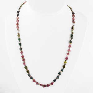 Watermelon Tourmaline and freshwater Keshi pearl necklace with 14k white gold Art Deco clasp. nlbd1277