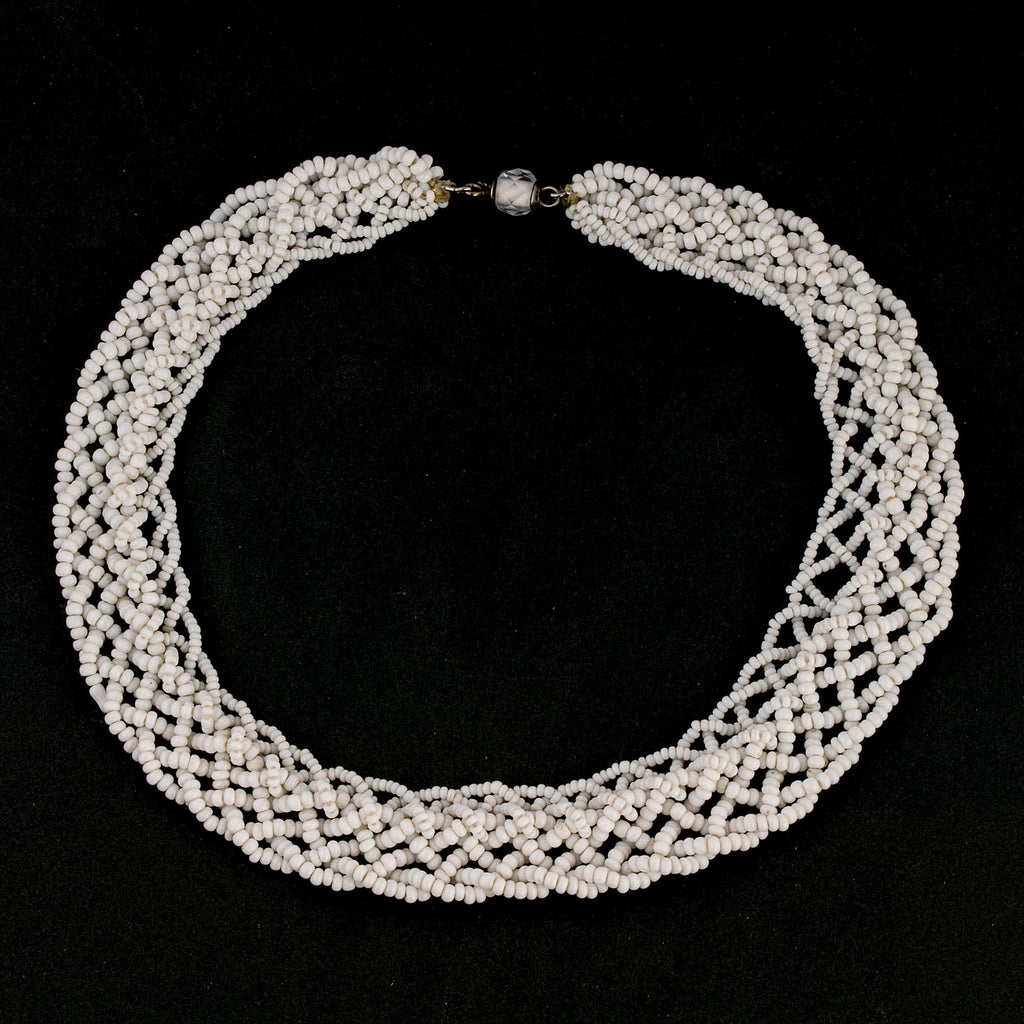Vintage hand made braided white glass bead collar. 1930s-1940s. RBG style. nlbd1278