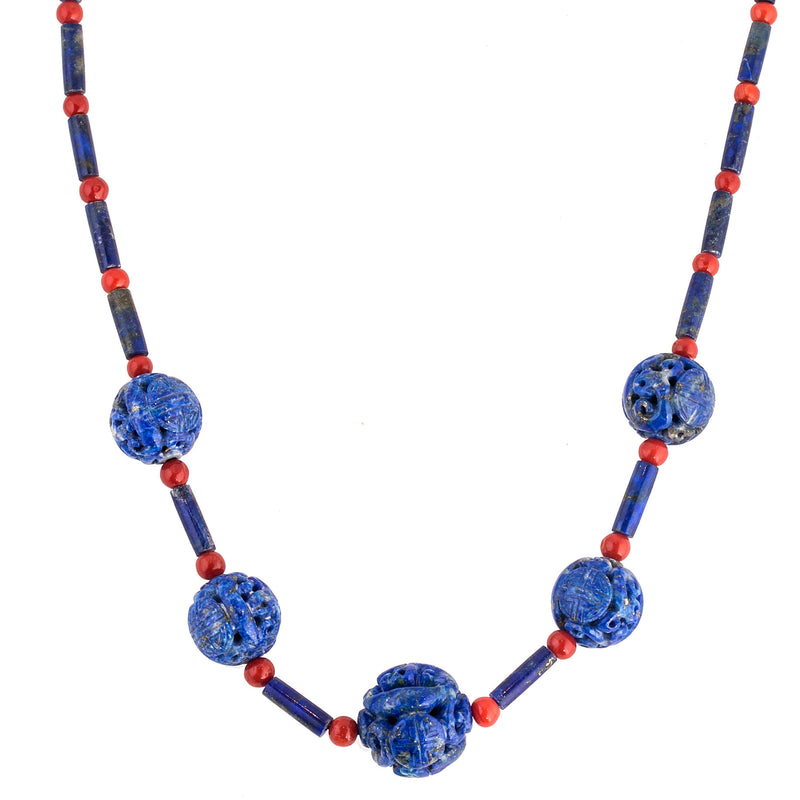 Vintage Chinese carved Lapis Shou and cylinder beads with antique red Mediterranean coral beads necklace.  nlbd1279