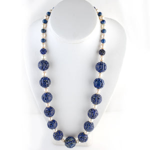 Vintage Chinese carved Lapis Lazuli Shou bead and Akoya baroque pearl necklace. 27 inches. nlbd989
