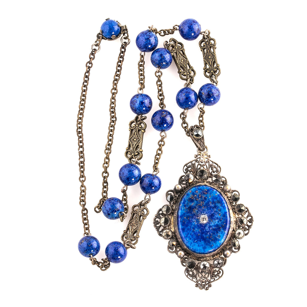 1920s Art Deco Lapis glass and brass filigree pendant necklace. Czechoslovakia. nlbg1046