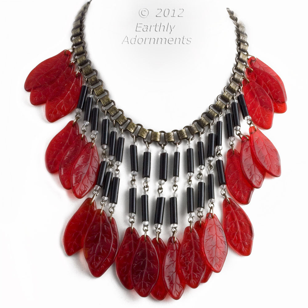 nlbg2030(e)-Vintage glass bead bib necklace