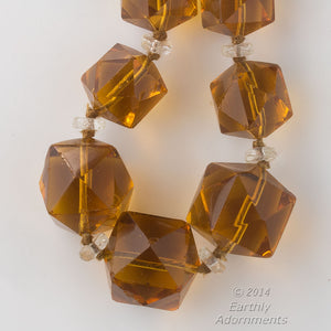 Vintage Art Deco necklace of faceted Madeira glass cubes, Czechoslovakia. nlbg2062