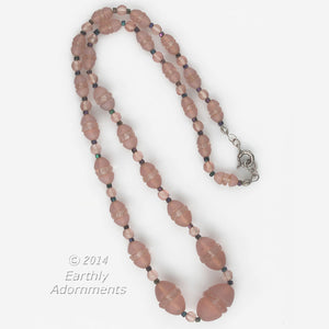 nlbg2070(e)-Vintage Czech peach pink glass 1920's era necklace