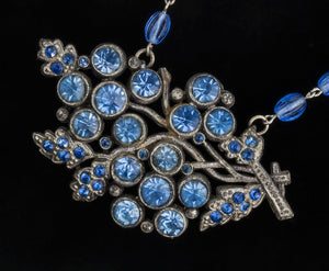 1930's sapphire glass brooch necklace. nlbg2072