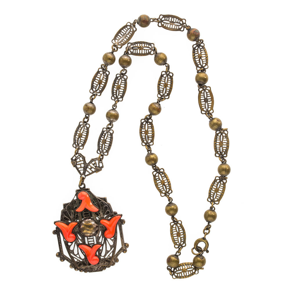 Neiger Brothers red coral glass and brass filigree lavaliere necklace c. 1930's. nlbg2076e