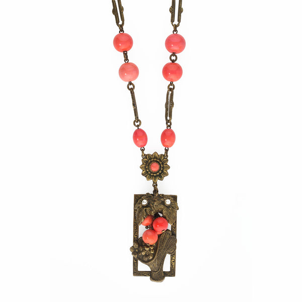 nlbg2080(e)- Czech red coral glass and layered brass flower basket lavaliere necklace c. 1930s.