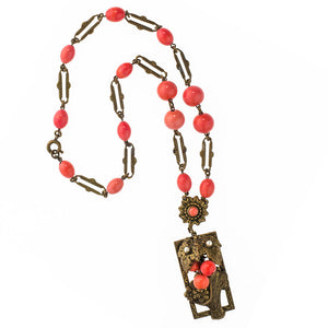 Czech red coral glass and layered brass flower basket lavaliere necklace c. 1930s. nlbg2080