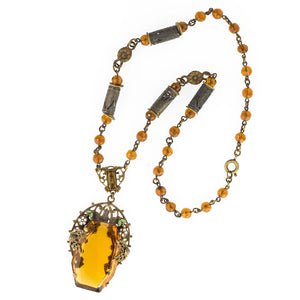 Art Deco Czech amber glass and white enamel brass lavaliere necklace. nlbg2083