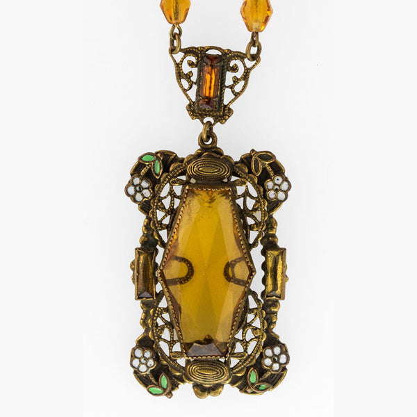 Antique Art Nouveau Bohemian amber glass and white & green enameled brass lavaliere necklace. nlbg2084(e)