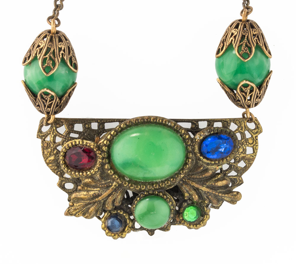 1920s-30s Czech Art Deco green Peking glass and jeweled brass filigree necklace. nlbg2087