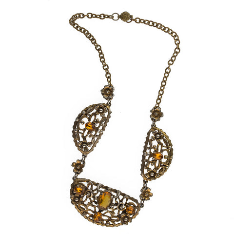 nlbg2092(e)- Vintage 1930's-40's cast brass link necklace with prong set glass stones and applied brass flowers.