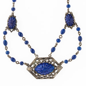 Vintage 1920's silver metal Bohemian lapis glass festoon necklace. nlbg2094