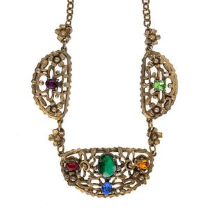 Vintage 1920s-1930s Czech brass link necklace with multi colored glass stones. nlbg2096(e)