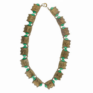 Vintage Art Deco Czech oriental style Peking glass bib necklace. nlbg2102