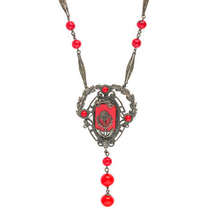 Vintage Art Deco red glass and silver metal flapper length lavaliere necklace. nlbg2109