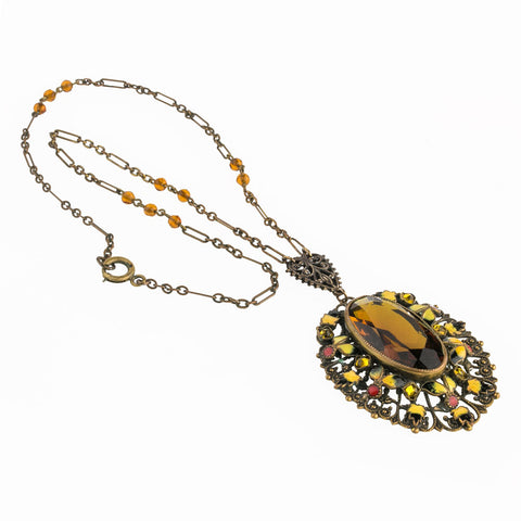 nlbg2112(e)- Antique Bohemian Czech enamel, brass filigree and faceted amber glass lavaliere necklace.