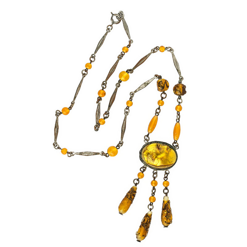 Vintage 1920's necklace of foiled beads and stones from Gablonz, Bohemia. nlbg2122(e)