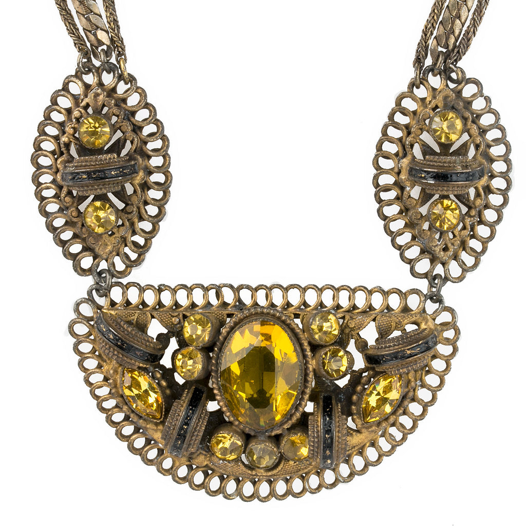 Vintage 1930's Victorian Revival fancy brass and yellow rhinestone multi strand necklace. Czechoslovakia. nlbg2123