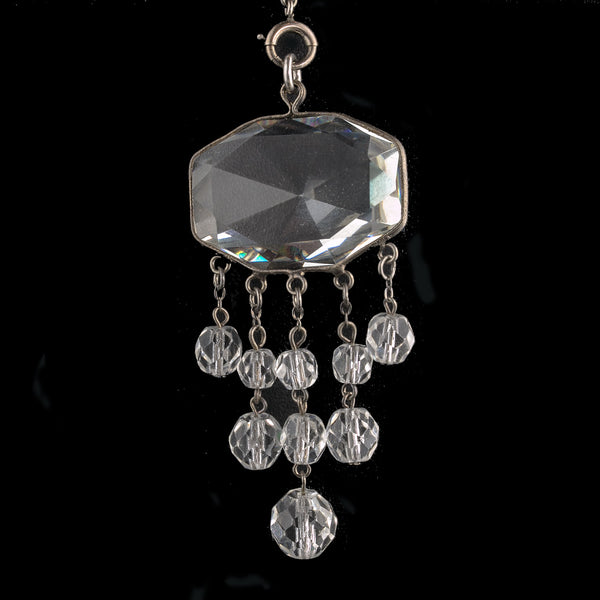Art Deco silver chain with paste stations and crystal glass lavaliere Czechoslovakia nlbg2137(e)