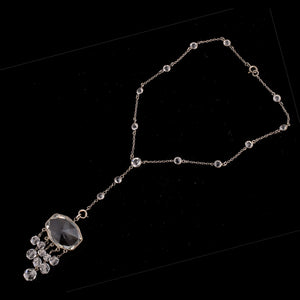 Art Deco silver chain with paste stations and crystal glass lavaliere Czechoslovakia. nlbg2137