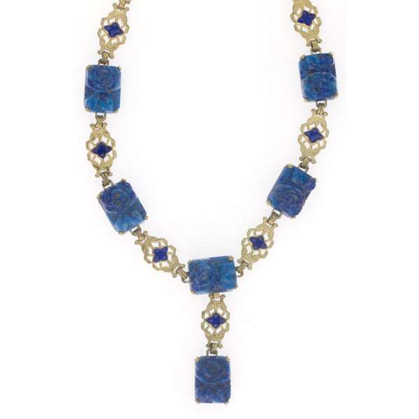 Art Deco Bohemian lapis glass and enamel gilt brass lavaliere necklace. nlbg2134(e)