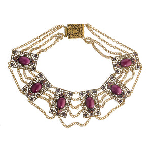Vintage brass filigree and fuscia glass and enamel festoon necklace. nlbg2133