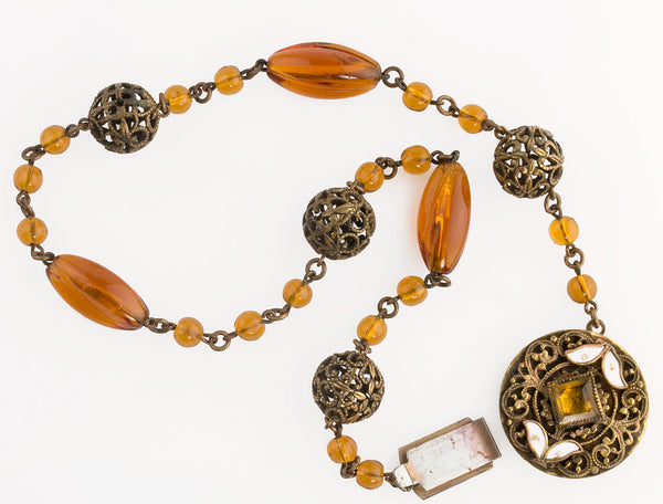 1930s Art Deco Czech amber glass and brass filigree necklace. nlbg2135(e)