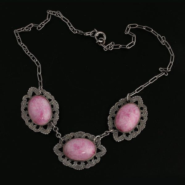 1920's-1930s Art Deco Czech mottled rose Peking glass and silver metal necklace Czechoslovakia.. nlbg2136(e)