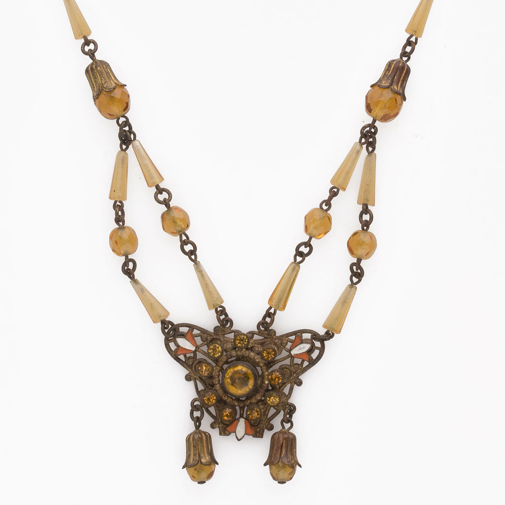 1920s brass and amber glass pendant necklace Czechoslovakia. nlbg2143