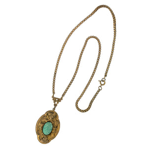 Czech green Peking glass and layered brass pendant necklace c. 1920s. nlbg2144
