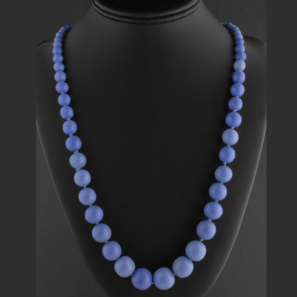 Art Deco 1920s Periwinkle Blue Glass bead necklace,28 inches, Czechoslovakia.  nlbg2151