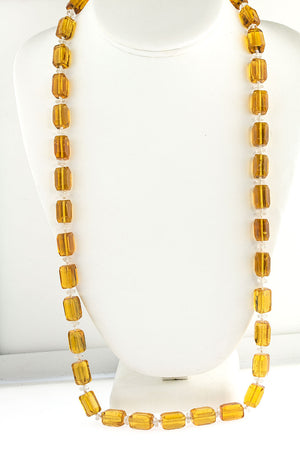 Vintage Art Deco necklace of faceted amber glass rectangular beads, Czechoslovakia. nlbg2146