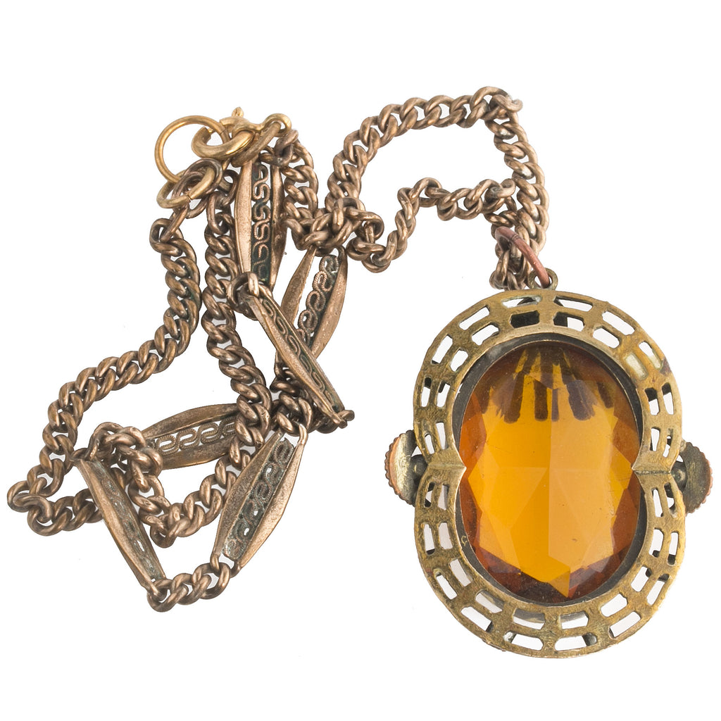 4245a1a19ee Antique Bohemian Czech fancy brass and faceted amber glass pendant  necklace. nlbg2152