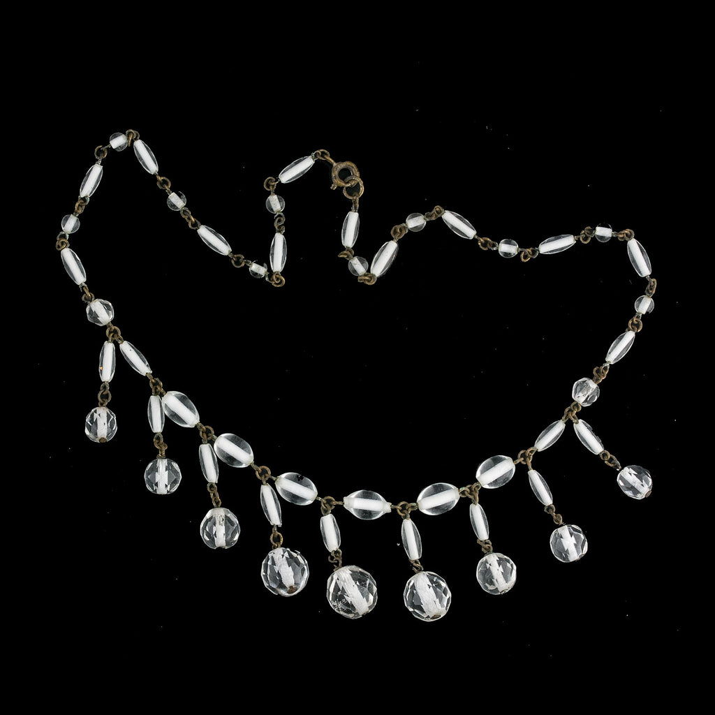 1920s clear crystal glass fringe necklace Czechoslovakia. nlbg2154