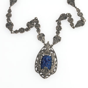 1920s Art Deco silver plated metal and carved glass pendant necklace. Czechoslovakia. nlbg2156