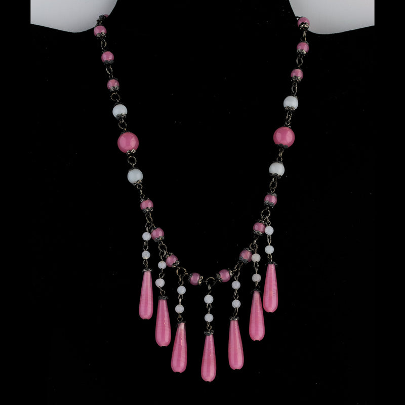 Vintage Bohemian pink and white satin  glass teardrop fringe necklace .Czechoslovakia. nlbg2159