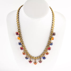 "Vintage 1940s brass bookchain and brass and multicolor glass button fringe necklace.18.5"". nlbg2160"