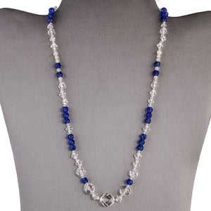 Vintage dark blue and sparkling cut crystal glass necklace. nlbg2164