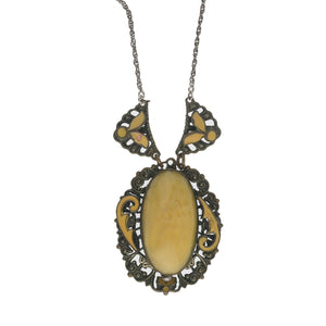 Edwardian era filigree, enamel & satin glass pendant necklace. nlbg823e